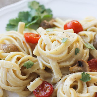 Creamy Garlic Pasta with Roasted Vegetables.