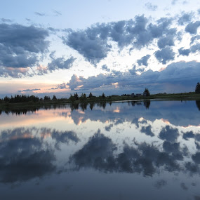 Morning cloud reflection  by Rose McAllister - Landscapes Cloud Formations ( water, clouds, reflection, nature, landscape, morning,  )