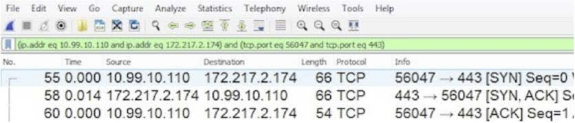 Wireshark and illustrates a TCP connect time of 14 ms.