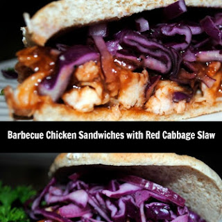 What Am I Eating Now? BBQ Chicken Sandwiches with Red Cabbage Slaw.