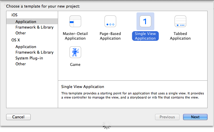 Screenshot of Xcode: Create Project