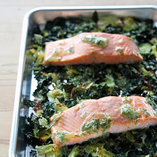 Salmon With Crispy Cabbage and Kale.