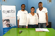 Social entrepreneurs and founders of ejoobi tech platform Simangele, middle, and Moses Mphahlele, with business partner Mogodu Maake.