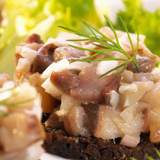 Pumpernickel with Chopped Pickled Herring.
