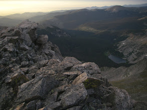 Photo: Looking down at Thunder Lake from Mount Alice. Camp is near the top left end of the lake.