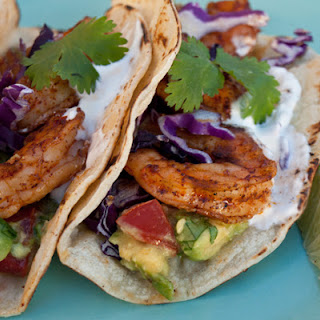 Grilled Shrimp Tacos with Avocado Salsa.