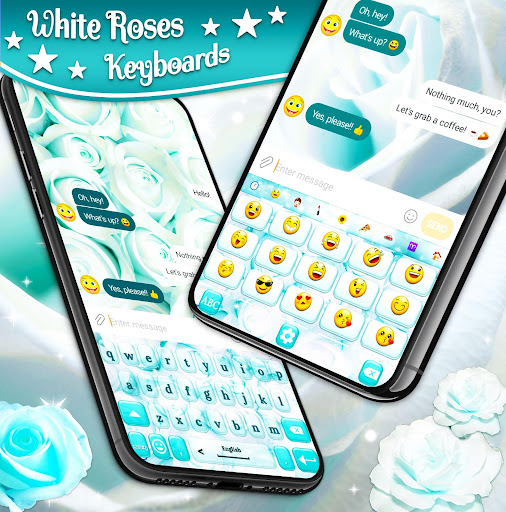 White Rose Keyboard 🌹 Beautiful Blue Roses Themes ss2
