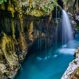 Great Gorge of the Soča River by Daniel Tomanovič - Landscapes Waterscapes ( water, gorge, beautiful, waterfall, soca, gorges, morning, landscape, nature, blue, slovenia, summer, wet, longexposure, deep, river )