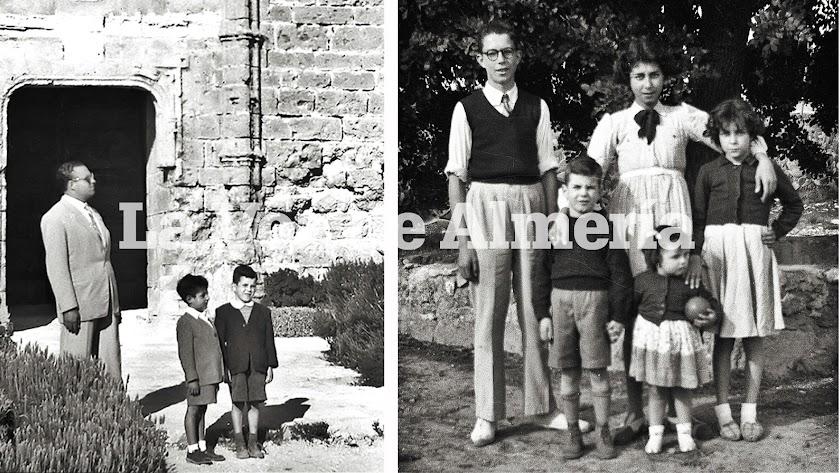 Jesús Martínez Capel con chaqueta oscura  junto a Paco Gázquez. A la derecha: Jesús con sus hermanos