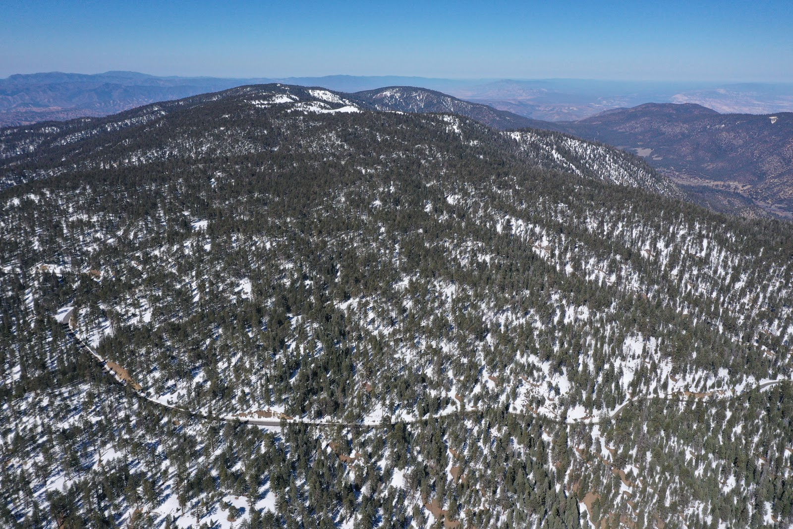 Aerial drone photo of Cuddy Valley Road leading to Mt. Pinos Nordic Center.