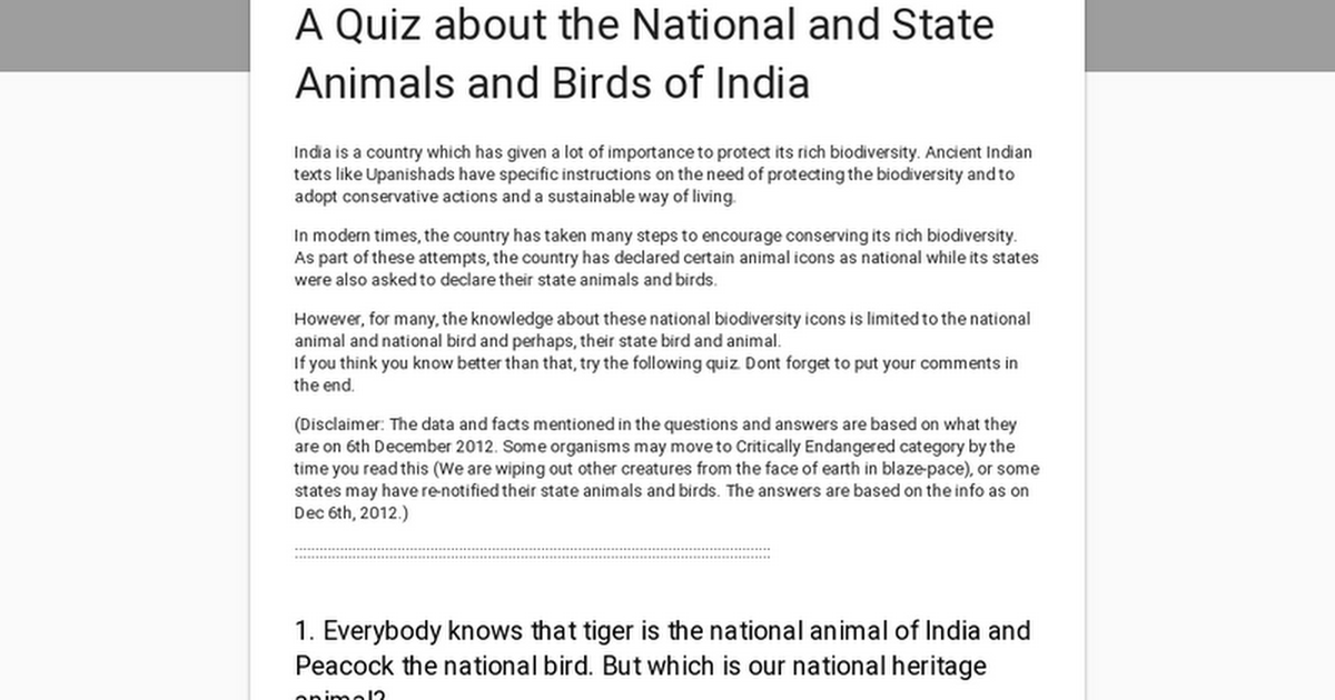 A Quiz about the National and State Animals and Birds of India