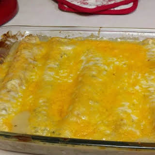 Easy Cheesy Chicken Enchiladas in Green Sauce.