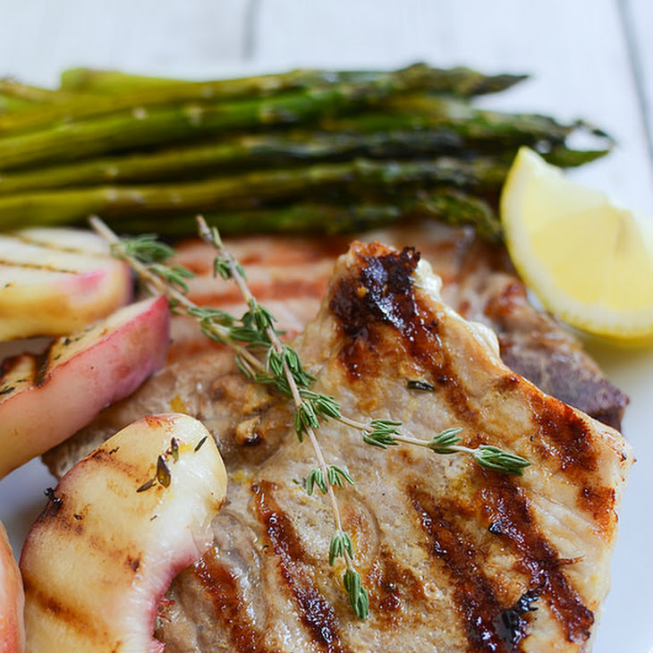 Grilled Lemon Thyme Pork Chops with Peaches Recipe
