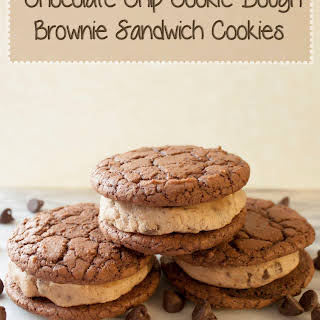 Chocolate Chip Cookie Dough Brownie Sandwich Cookies.
