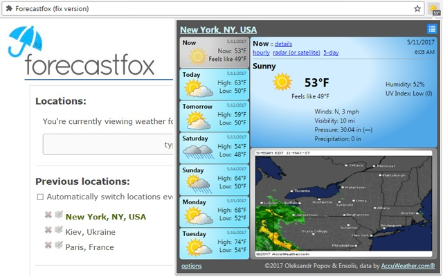 ForecastFox for Chrome full screenshot