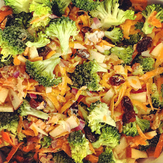 Broccoli Carrot Apple Salad with Walnuts and Raisins.