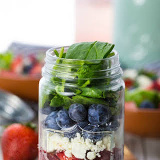 Red White and Blue Mason Jar Salad (Fruit and Feta Salad).