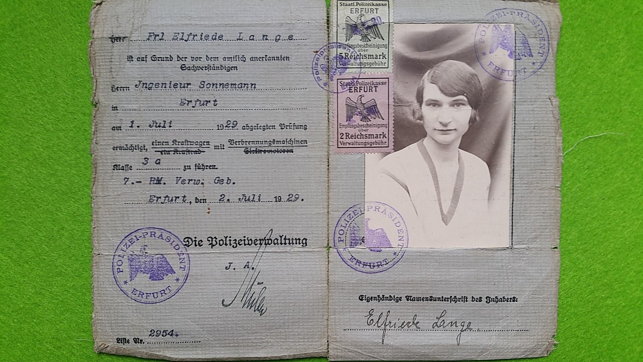 Führerschein Omi, 1929