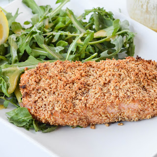 Honey Dijon Almond Crusted Salmon + Honey Dijon Dressed Arugula Salad