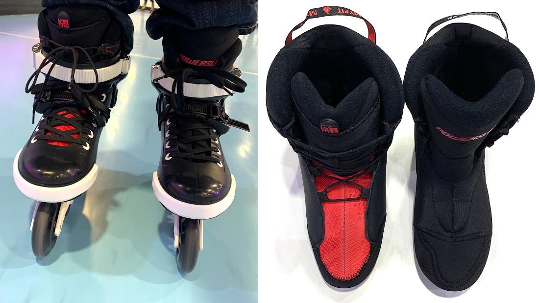 写真1 「Crown Dual Fit Liner」(黒×赤)と純正インナーブーツ(黒)の比較