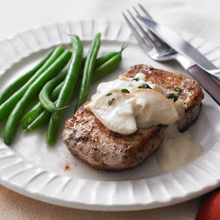 Pork Chops with Apples & Creamy Mustard Sauce.