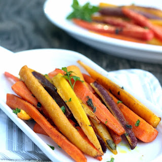 Healthy Roasted Rainbow Carrots With Turmeric.