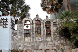 Photo: Bells on the Arneson Theater Stage - representing the 5 missions of San Diego. The theater stage in on one side of the river, seating on the other!