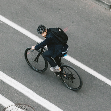 Cyclist overhead shot