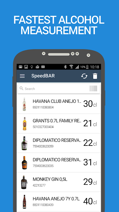 SpeedBAR Lite liquor inventory- screenshot