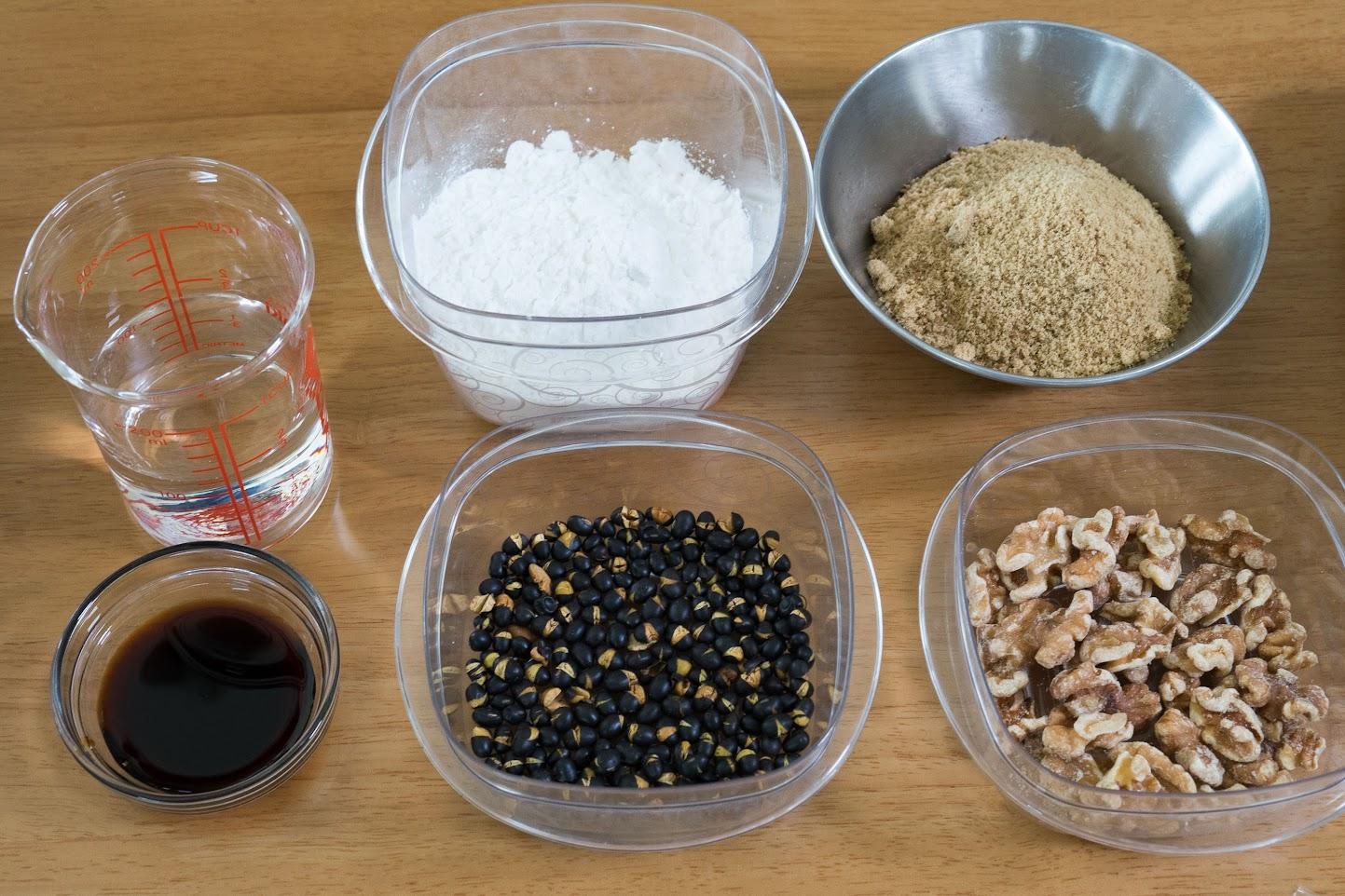 黒千石レシピ:黒千石大豆とくるみのゆべし・材料