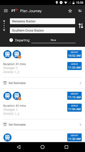 Public Transport Victoria app  screenshots 2