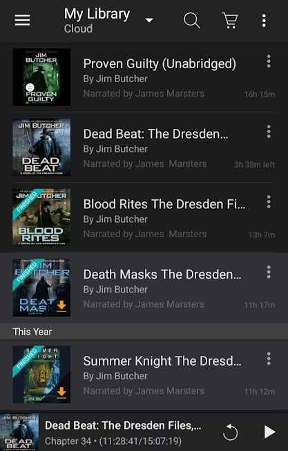 Full of my Dresden files books on Audible