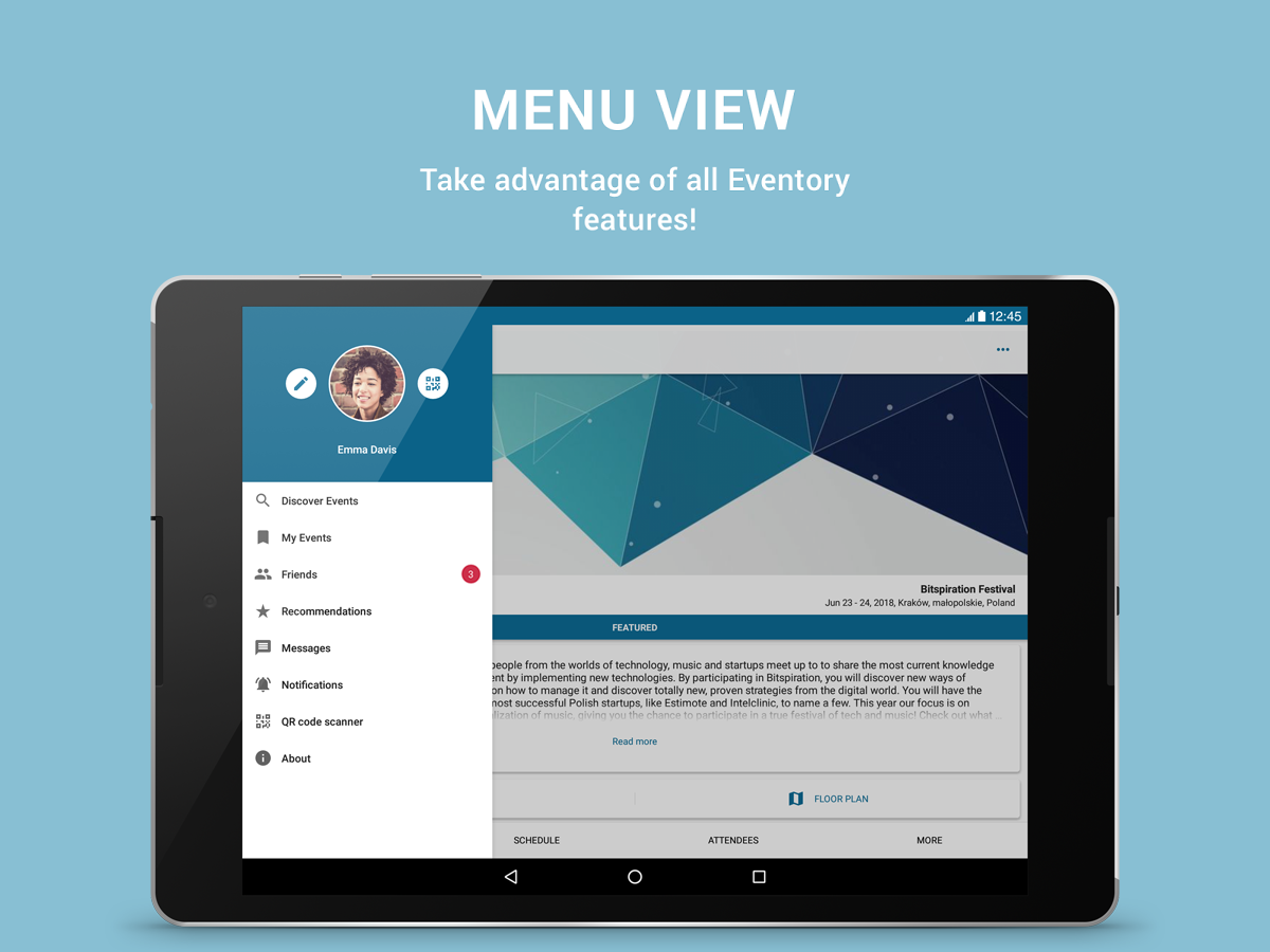 Eventory - event management and planning app- screenshot