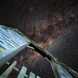 mikyway over the abandoned house by Shahrin Ayob - Buildings & Architecture Decaying & Abandoned ( abandon, built, milkyway, house, temerloh, home )