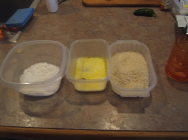Set up a breading station with flour, egg wash and Panko bread crumbs