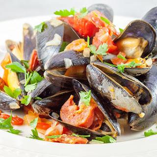 Spanish Mussels In Chorizo And Wine Sauce.