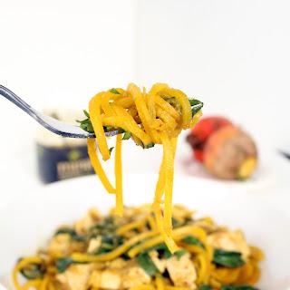 Spicy Green Harissa Chicken and Golden Beet Noodles