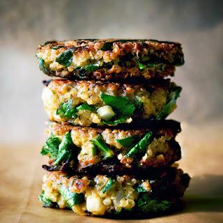 Quinoa & Swiss Chard Patties + Avocado Tahini Dip.