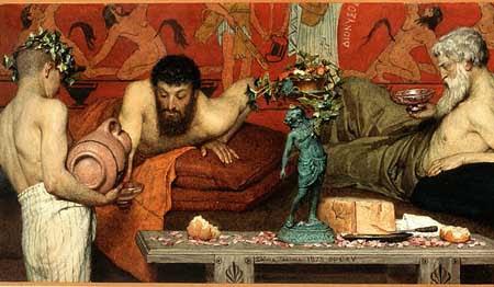 αρχαίοι Έλληνες, δειπνοσοφιστής, οινοποσία, dinner with wise men.