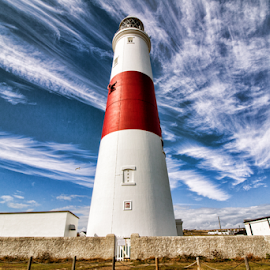 Portland Bill Lighthouse (UK) by Gianluca Presto - Buildings & Architecture Other Exteriors ( red, sky, cloudy, lighthouse, united kingdom, portland bill, clouds, architecture )