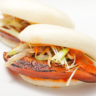 Pork Belly Buns with Spicy Mayo, Scallions, and Pickled Bean Sprouts Recipe