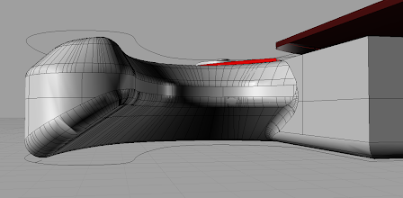 Photo: The lower horn. Notice the floating fretboard :) Oh, and some surfaces look bloated. This is a screenshot from Rhino, where I've simplified shading for performance purposes. Everything will be smooth on a final render.