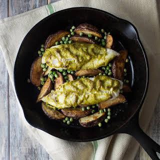 Tilapia with New Potatoes, Peas and Pesto Mayo.