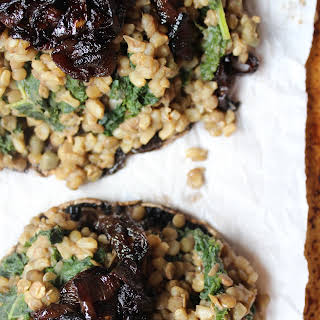 Lentil and Rice Stuffed Portobellos with Caramelized Onions.
