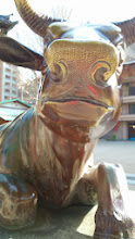 """Photo: """"Hey you, how're things going?"""", asks another Japanese Nandi bull we met in Kushida Shrine in central Fukuoka. 27th December updated -http://jp.asksiddhi.in/daily_detail.php?id=405"""