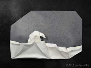 Photo: Blues polaire - rectangle de Canson sur lokta, 65cm x 50cm