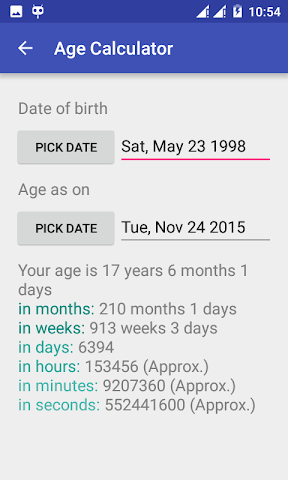 android Date + Age Calculator Screenshot 0