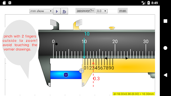 Vernier Caliper Simulator Pro - náhled