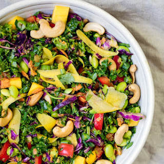 Chopped Thai Kale Salad with Peanut Ginger Dressing.