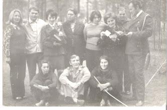 Photo: Stanica Harcerska w Sabniach - 1975 r.. Od lewej: Marta Król, Jerzy Naronowicz, hm. Marianna Naronowicz Komendantka Stanicy, Kazimierz Marciszewski, hm.Hanna Andryszczyk, hm.Wanda Klimczuk, ... ..............Marciszewska, hm.Tadeusz Saczuk, na dole od lewej: Stefania Odowska (Kocyk), hm.Wojciech Mielańczuk, hm.Zofia Piwko,